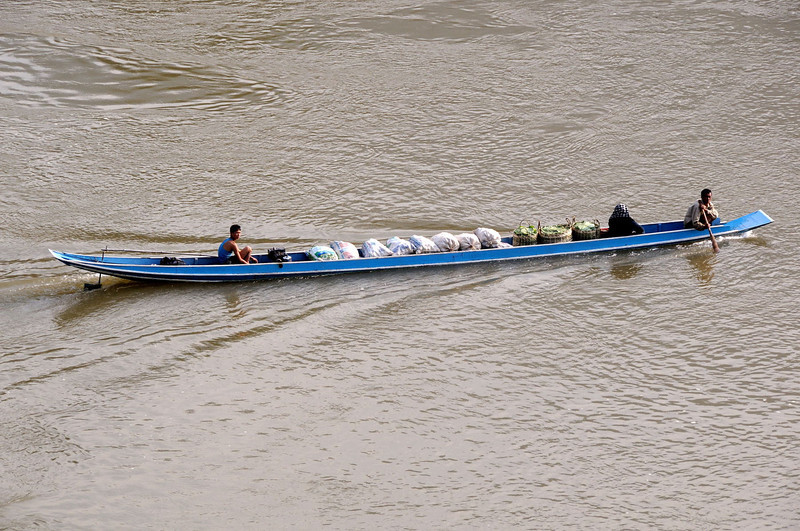 Boat on Nam Ou river at Nong Khiaw.