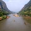 The Nam Ou river at Nong Khiaw photographed from the Chinese built bridge.