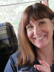 Diane Paul on the bus at Angkor Wat.