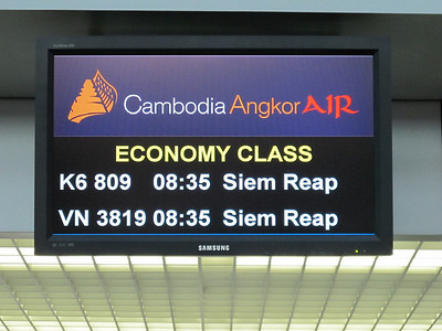 On the way to Siem Reap.  Sign at Saigon's airport for our flight.