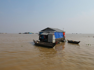 Boats and floating homes in Tonle Sap Lake.