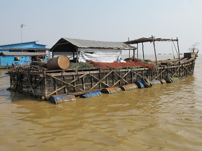 Fishery and floating homes in Tonle Sap Lake.