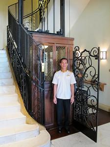 Elevator inside Raffles Grand Hotel D'Angkor, Siem Reap, Cambodia.