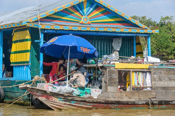 Door to door sales in the villages on Tonle Sap.