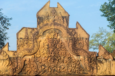 Indra rides the three-headed Airavata above the demon Kala on a lintel over the entrance door.