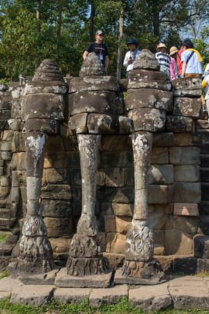 Angkor Thom. At the center of the Elephant Terrace is a three-headed elephant.