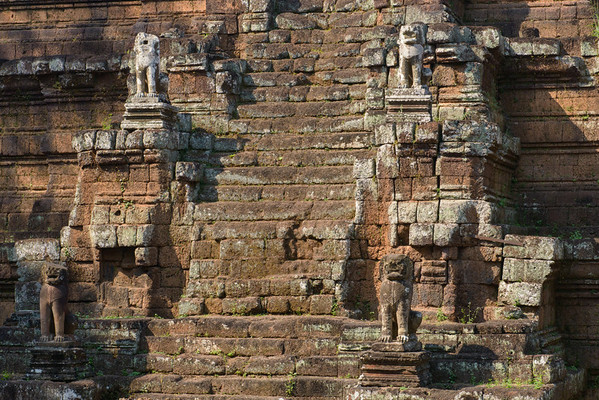 Angkor Thom. The stairs of the temple Phimeanakas. Identical stairs are located at the cardinal points and are guarded by lions.