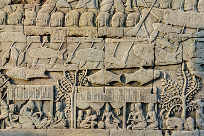 Khmer warships rowing into battle against the Cham, The Bayon
