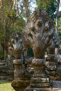 Angkor Thom. A naga at the entrance to  Preah Palilay
