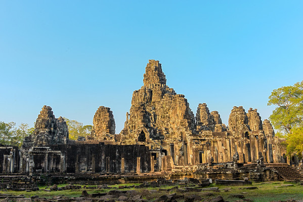 Angkor Thom. The Bayon, the central temple in Angkor Thom.
