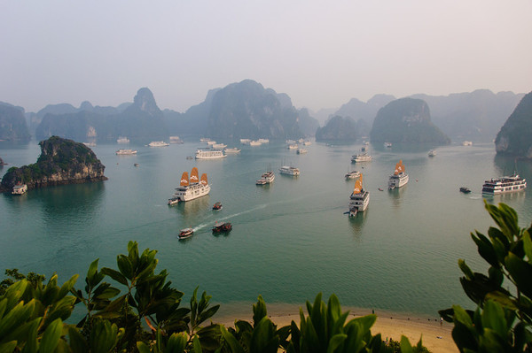 Halong Bay. The boats are all floating hotels.