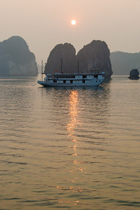 Sunset on Halong Bay.