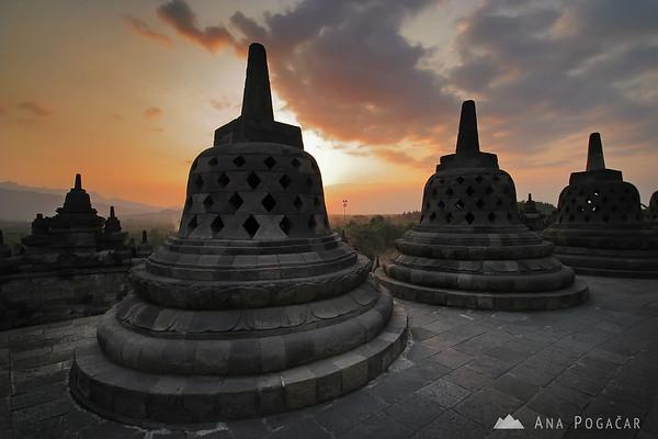 Borobudur stupas at sunset