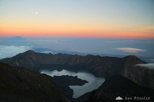 At the top of Mt. Rinjani (3726 meters) at sunrise