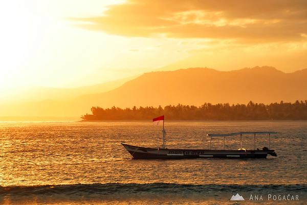 A boat at sunrise