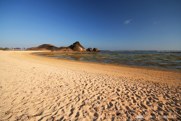 Kuta beach at the low tide