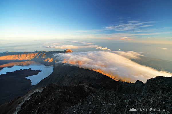 Fog rolling in at sunrise from Mt. Rinjani