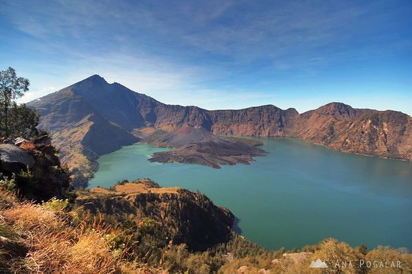 The view from the rim of the crater toward Mt. Rinjani and the lake