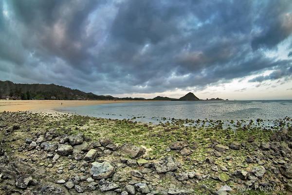 Kuta beach and an ominous sky
