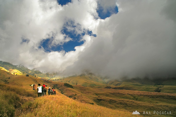 Procession of hikers and porters