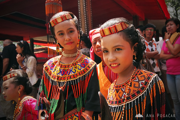 Young girls in traditional attire in Tana Toraja