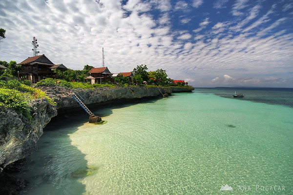 Bungalows on a cliff in Pantai Bira