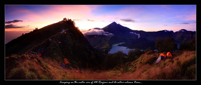 This is Mount Rinjani at sunrise, a 7 hour hike that brought us to this stunning view of the active volcano and crater lake, the big peak off in the far distance is the highest point on Rinjani which unfortunately was another days hike away and we didn't have time or energy...the big group of tents on the far left was our campsite and as you can see the volcano Baru in the middle of the crater lake Segara Anak is still smoldering, apparently late at night you could see magma but I was asleep shortly after sunset so I was sure not to miss this beautiful sunrise, it was worth it I think...this is a 10 pic panoramic image of our camping experience on Mt.Rinjani my favorite part of the trip...