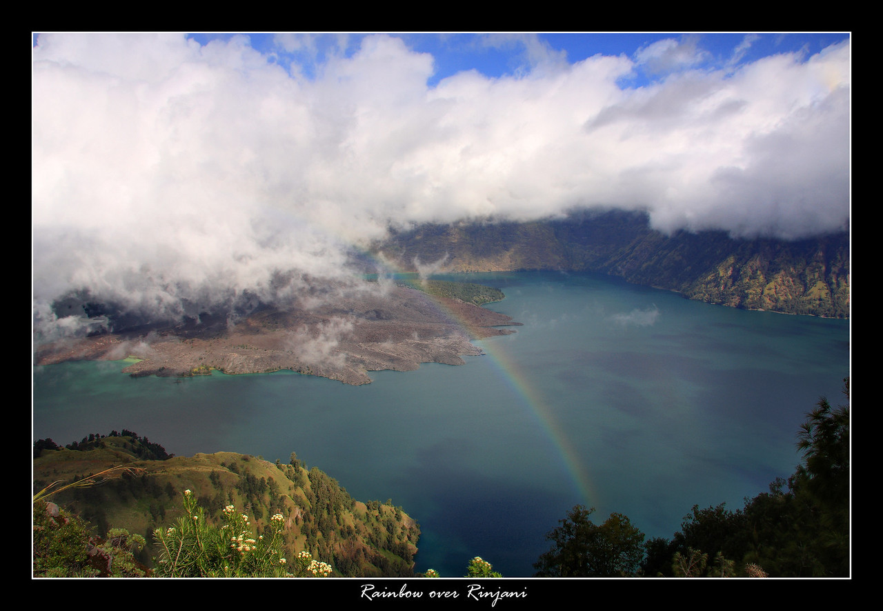 I was the first person to make it to the top on our Rinjani hike and I was rewarded by seeing this Rainbow, unfortunately it was only there for about 2 minutes long enough for me to take a picture and then disappeared, this is the Crater lake, the opening of the volcano is just in the clouds..