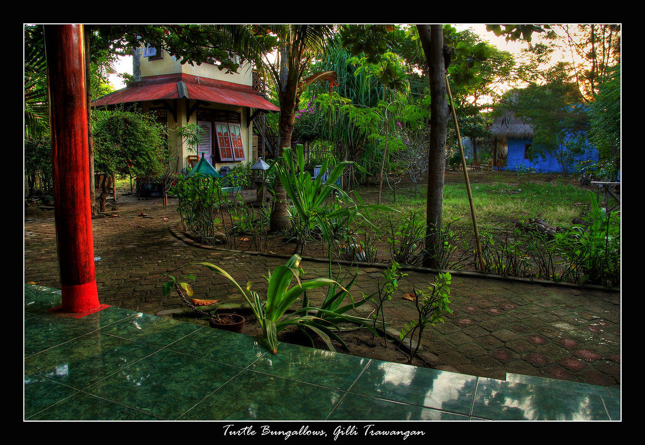 Most of the group stayed at Soundwave bungalows but those filled up quick and we stayed at Turtle bungalows and up until Bali they were some of the nicest rooms I stayed in throughout SE Asia, this was the view from our patio..about a 30 second walk out down that path and it was white sandy beaches and a small Sea Turtle conservation area.