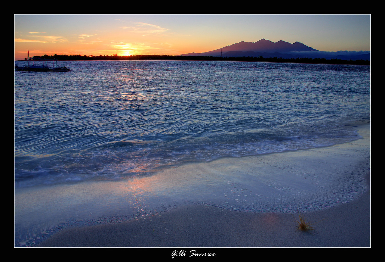 Sunrise on Gilli Trawangan, this was a 1 minute walk outside of my bungalow, and the mountain range in the back is the volcano and Mt.Rinjani which we hiked a couple days before coming to the Gillis.