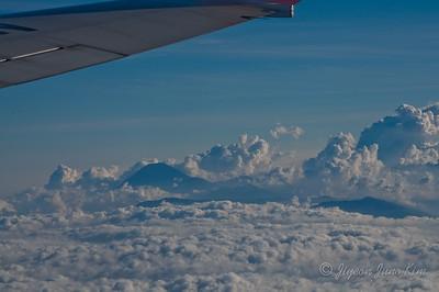 Flight in Indonesia - passing Volcanos