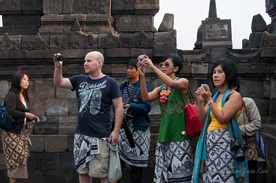 Taking pictures of Borobudur temple