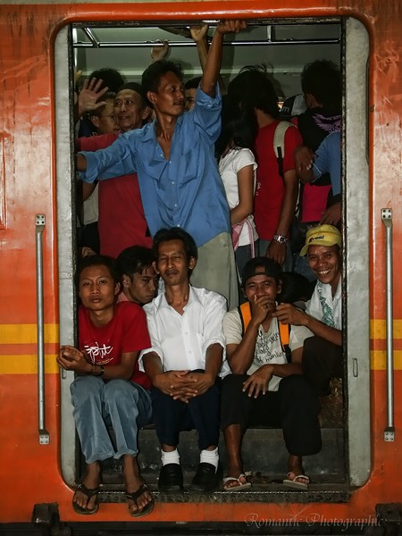 Commuters packed into a Jakarta train.