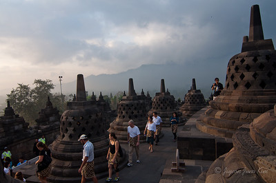 Visitors at Borobudur temple