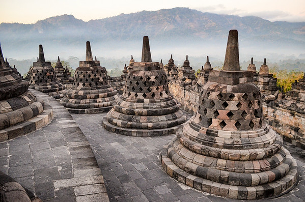 Buddhist stupas at Borobudur