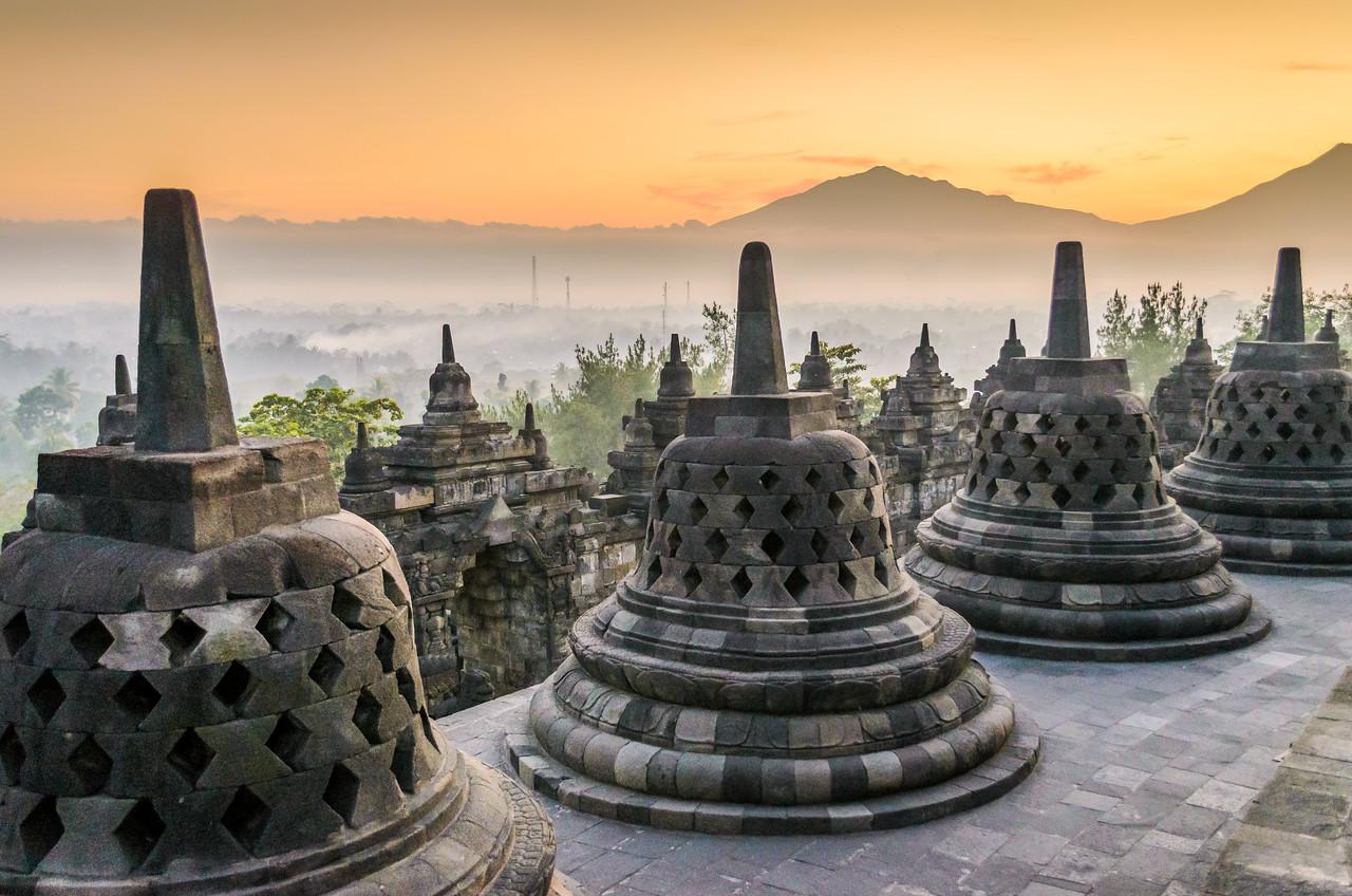 Buddhist stupas at Borobudur
