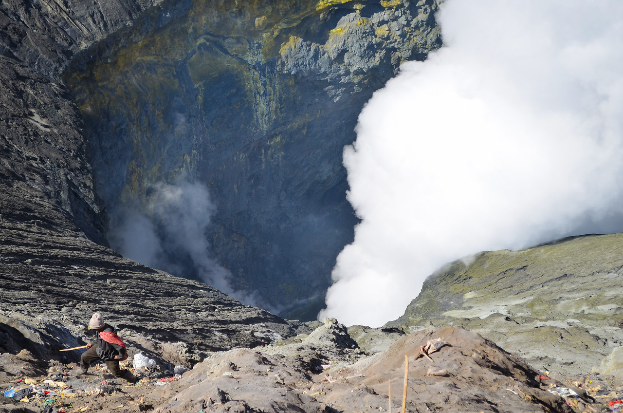 Working in the crater