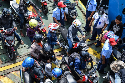 Bikers on ferry