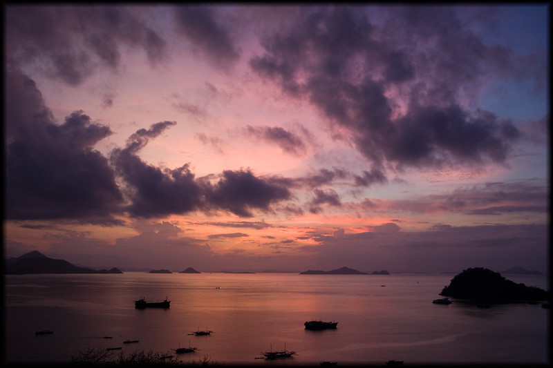 Sunset over Labuan Bajo harbor, Flores, Indonesia