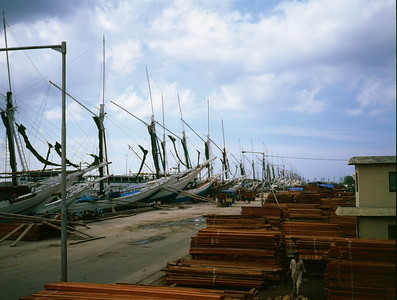 Tropical hardwood and wooden ships, Jakarta, Indonesia.
