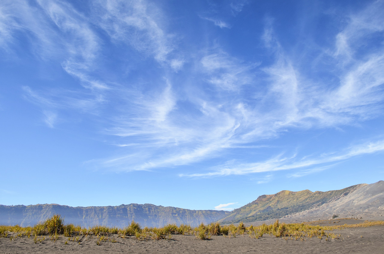 Dust, mountains and sky