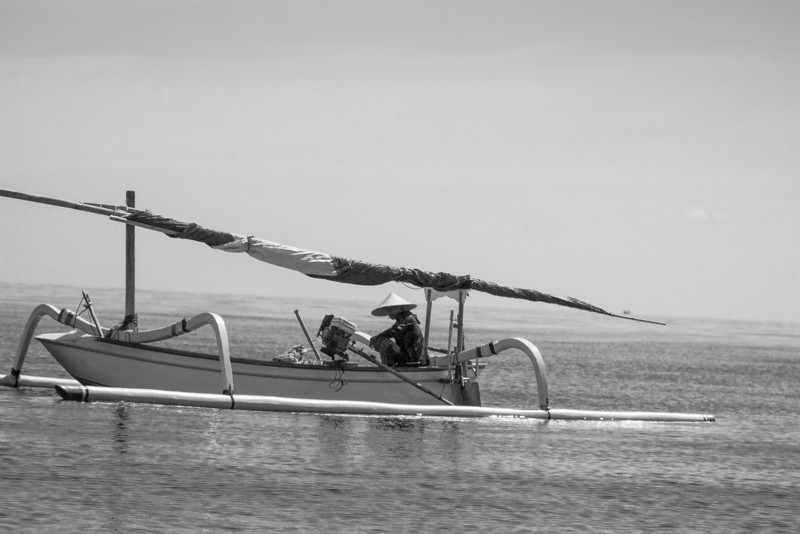 Just me and the ocean! A fisherman on the beautiful waters of Lombok, Indonesia