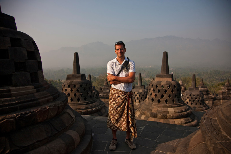 """You want to go to Borobudur? Okay, but you have to wear a dress."" ""Psh! Absolutely not! There are some things I just won't do."""