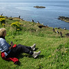 Angela gets down with the puffins on Lunga