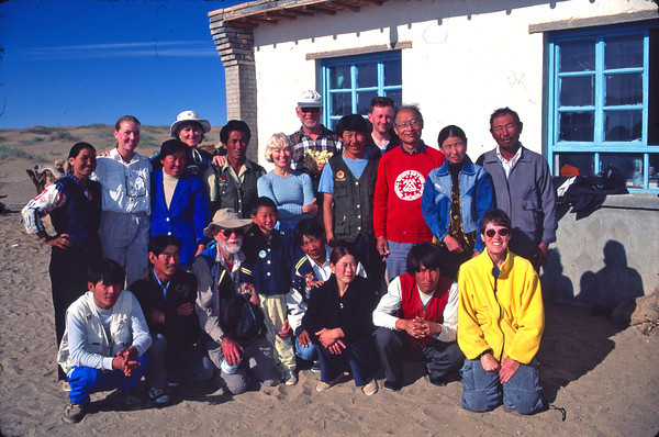 Group photo of our research team with host family.  We were getting ready to embark on our journey into the Mega Dunes via camel back