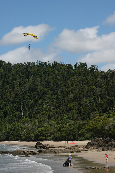 A skydiver over Etty Bay