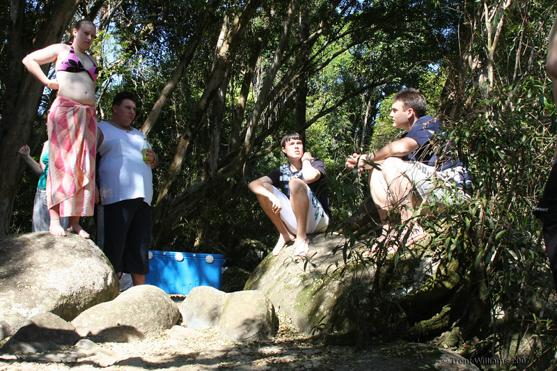 Relaxing at Golden Hole, Innisfail, the day after Craig and Sams wedding. Carla (left), Wayne, David, Steven