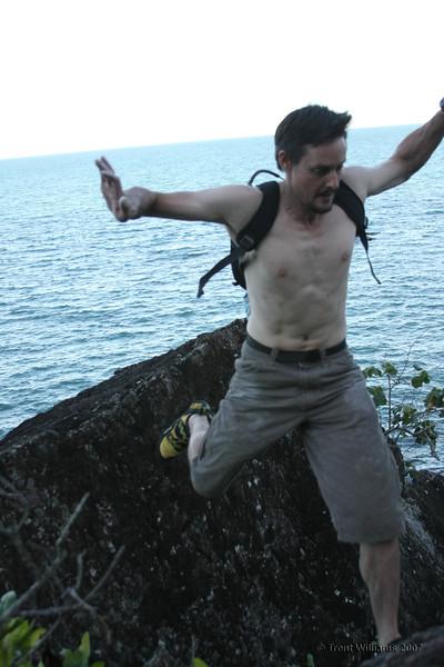Craig doing a jump at the pinnacle sector, Etty Bay