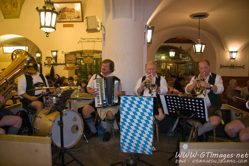 Munich, Germany - The Hobrauhaus band is always playing.