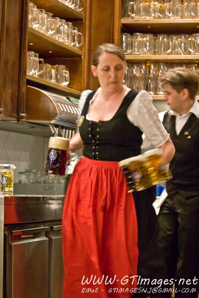 Munich, Germany - Serving beer at the Hofbrauhaus.